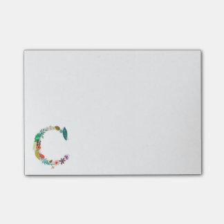 Inicial floral do monograma da letra - C Post-it Note