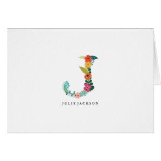Inicial floral do monograma da letra - J - cartão