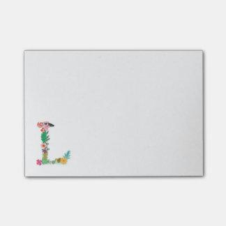 Inicial floral do monograma da letra - L - Sticky Note