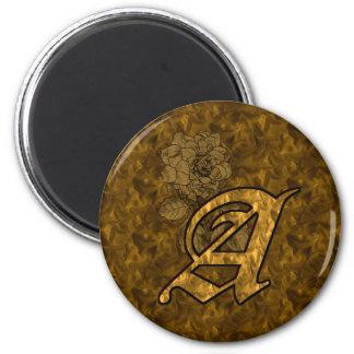 Inicial Monogrammed um ímã da peônia do ouro Ímã Redondo 5.08cm