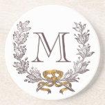 Inicial personalizada grinalda do monograma do vin porta-copo