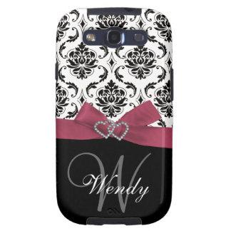Inicial personalizada, rosa, cor damasco preta capa personalizadas samsung galaxy s3