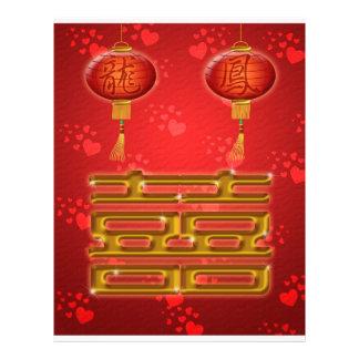 Insecto chinês da felicidade do dobro do casamento panfletos coloridos