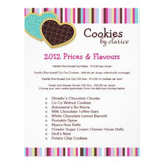 Insecto da tabela de preços do biscoito panfleto coloridos