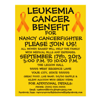 Insecto do benefício do cancer da leucemia dos des panfleto personalizado