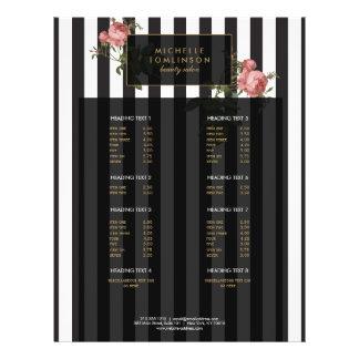 Insecto do salão de beleza listrado floral do flyer 21.59 x 27.94cm