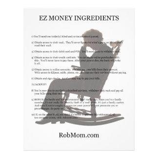 Insecto dos ingredientes do dinheiro de EZ Panfleto