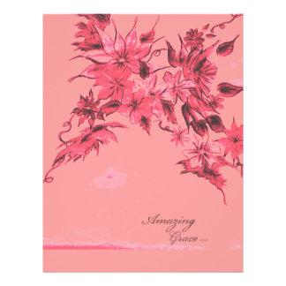 Insecto floral da tinta surpreendente do rosa da flyer 21.59 x 27.94cm