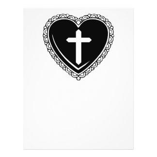 Insecto gótico do coração & da cruz (preto & branc modelo de panfletos