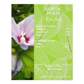 Insecto holístico verde da tabela de preços da saú modelo de panfleto