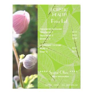Insecto holístico verde da tabela de preços da saú panfletos