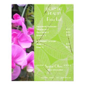 Insecto holístico verde da tabela de preços da saú panfletos personalizados