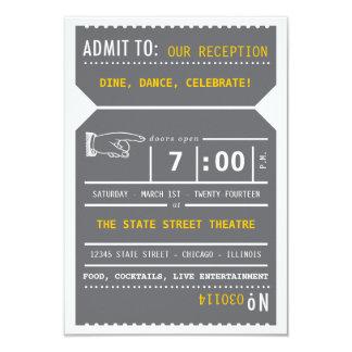 Inserção do bilhete de teatro do vintage nas convite 8.89 x 12.7cm