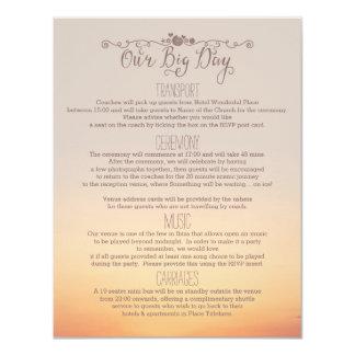 """Inserção do casamento de praia """"nosso dia grande """" convite 10.79 x 13.97cm"""