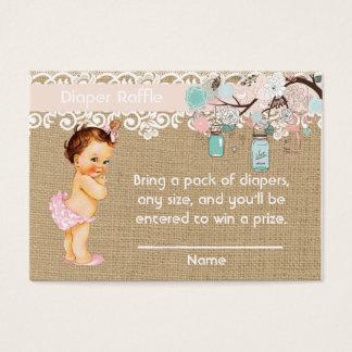 Inserção do Raffle da fralda com bebê do vintage Cartão De Visitas