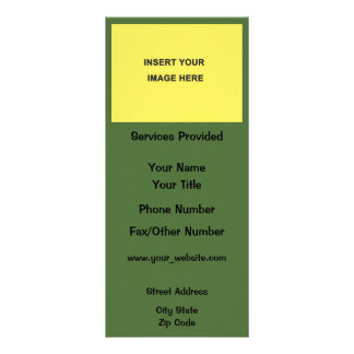 Inserção do verde amarelo seu próprio modelo do 10.16 x 22.86cm panfleto