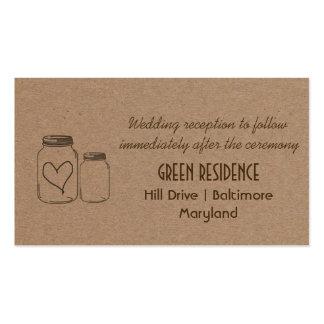 Inserção rústica do casamento do coração do frasco cartão de visita