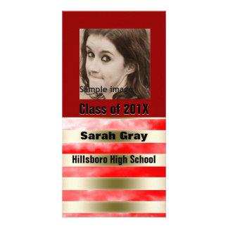 Inserção vermelha da foto do anúncio da graduação  cartões com foto personalizados