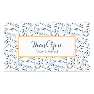 Inserções azuis dos cartões de agradecimentos do cartão de visita