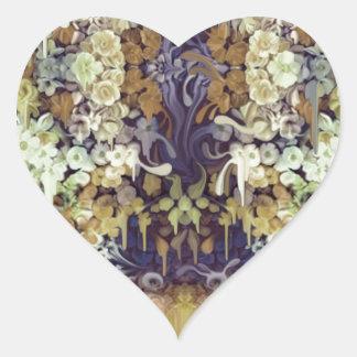 Inseto de junho, teste padrão floral de adesivo coração