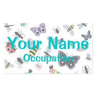 Insetos & borboletas coloridos do vetor modelos cartões de visitas