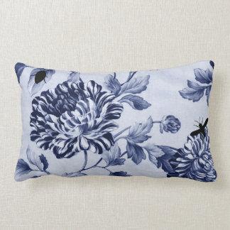 Insetos botânicos Toile floral do vintage do azul Almofada Lombar