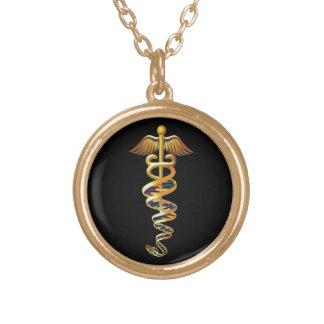 Insígnias médicas colar banhado a ouro