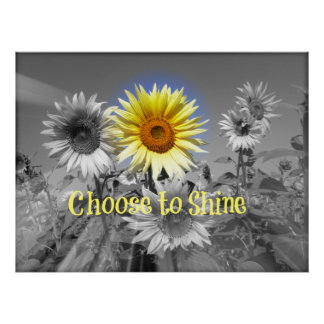 Inspirado escolha brilhar citações com girassol pôsteres