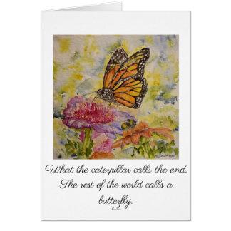 Inspire o cartão da aguarela do monarca do poema