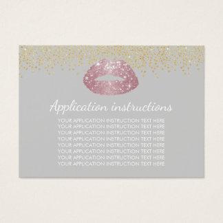 Instruções cor-de-rosa da aplicação da composição cartão de visitas
