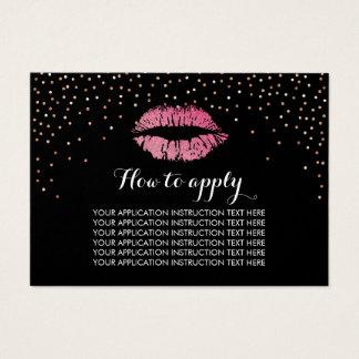 Instruções da aplicação dos confetes dos lábios do cartão de visitas