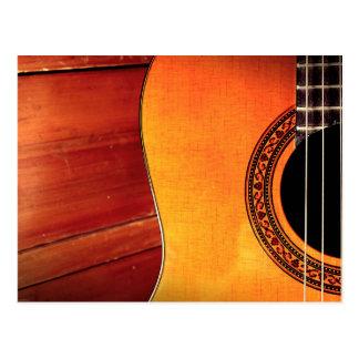 Instrumento musical acústico da guitarra cartão postal