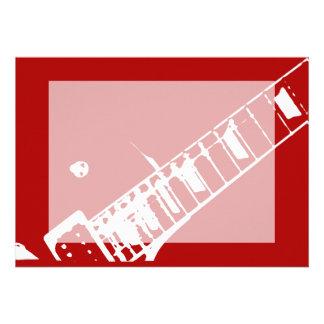 instrumento musical vermelho e branco do selo do p