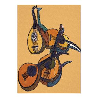 Instrumentos musicais amarrados convites personalizado