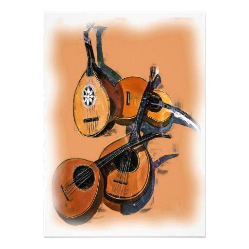 Instrumentos musicais amarrados no óleo, borda bor convites personalizados