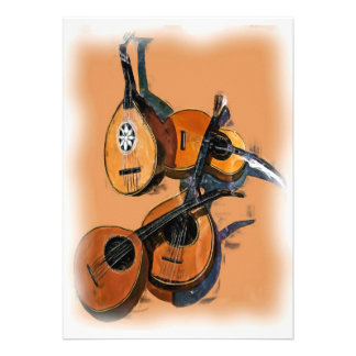 Instrumentos musicais amarrados no óleo borda bor convites personalizados