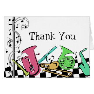 Instrumentos musicais coloridos cartão de nota