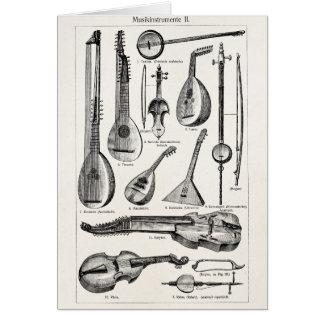 Instrumentos musicais da corda do violoncelo do cartão de nota