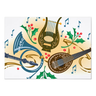 Instrumentos musicais e azevinho convite 12.7 x 17.78cm
