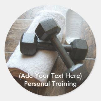 Instrutor ou toalha & água pessoal de Dumbells da Adesivo Em Formato Redondo