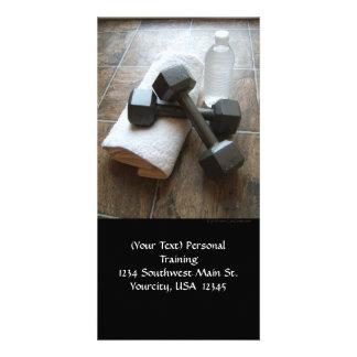 Instrutor ou toalha & água pessoal de Dumbells da Cartão Com Fotos