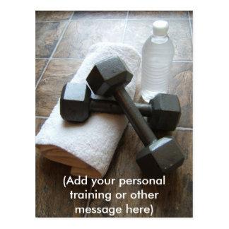 Instrutor ou toalha & água pessoal de Dumbells da Cartao Postal