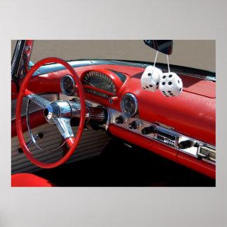 Interior clássico do carro poster