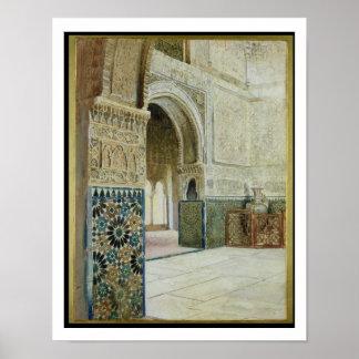 Interior do Alhambra, Granada (w/c) Poster