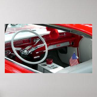 Interior do carro dos anos 60 do vintage poster