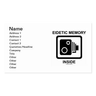 Interior eidético da memória (sinal da câmera foto modelos cartoes de visitas