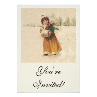 Inverno da criança da neve do natal vintage convite 12.7 x 17.78cm