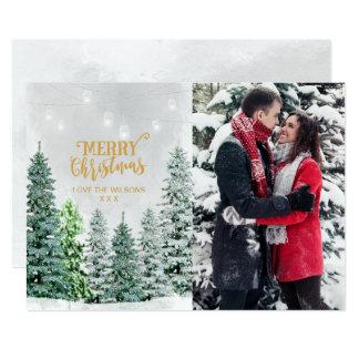 Inverno da neve das árvores de Natal do cartão com Convite 12.7 X 17.78cm