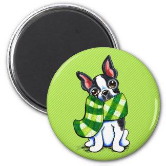 Inverno do lenço da xadrez de Boston Terrier Ímã Redondo 5.08cm