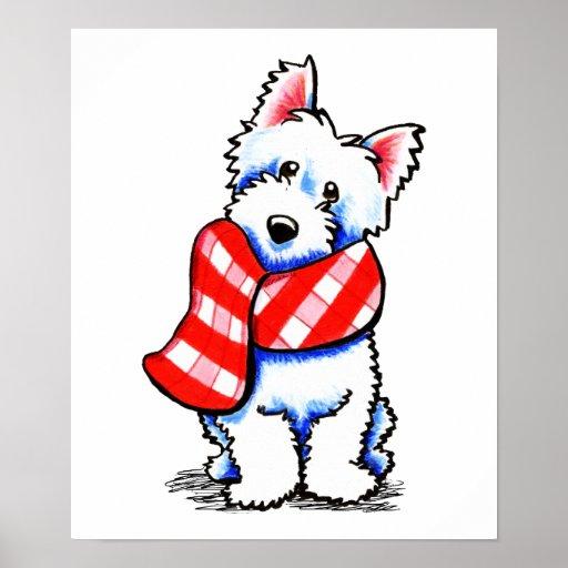 Inverno feliz do lenço da xadrez de Westie Impressão